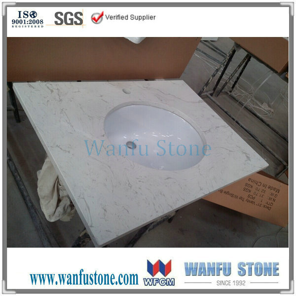 China White Carrera Cultured Marble Vanity Tops/ Lowes Vanity Top ...