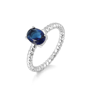 Wholesale couple neelam stone jewelry fashion 925 silver ring with blue stone