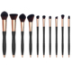 Hot Now 10pcs Make Up Brushes Ergonomic Microphone Dotted Design Makeup Brushes Set