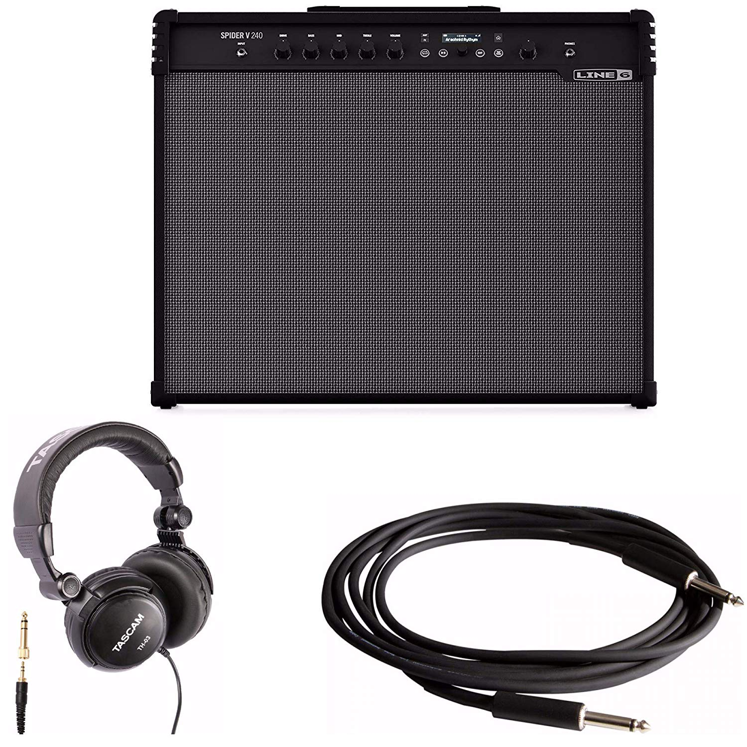 Line 6 Spider V 240 2x12 Full-range Stereo 240-Watt Guitar Amplifier with Full-Size Headphones and Instrument Cable