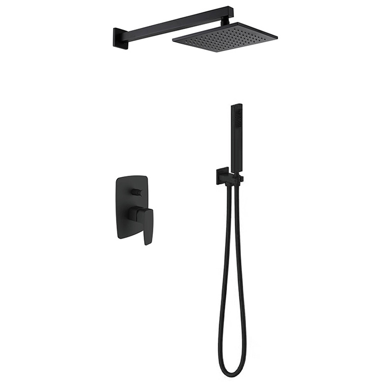 Kuningan Padat Built-In Keran Kamar Mandi Shower Set Matt Hitam Keran Shower Set