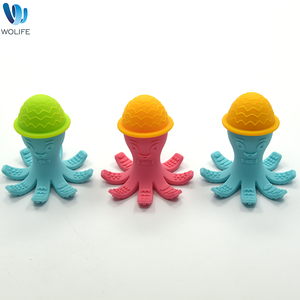BPA Free Octopus Shape Organic Silicone Cute Bath Toy Baby Teething Toy