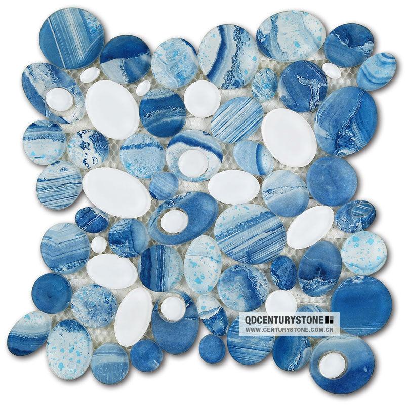 Blue River Bathroom Decorative Gl Pebble Mosaic Tile