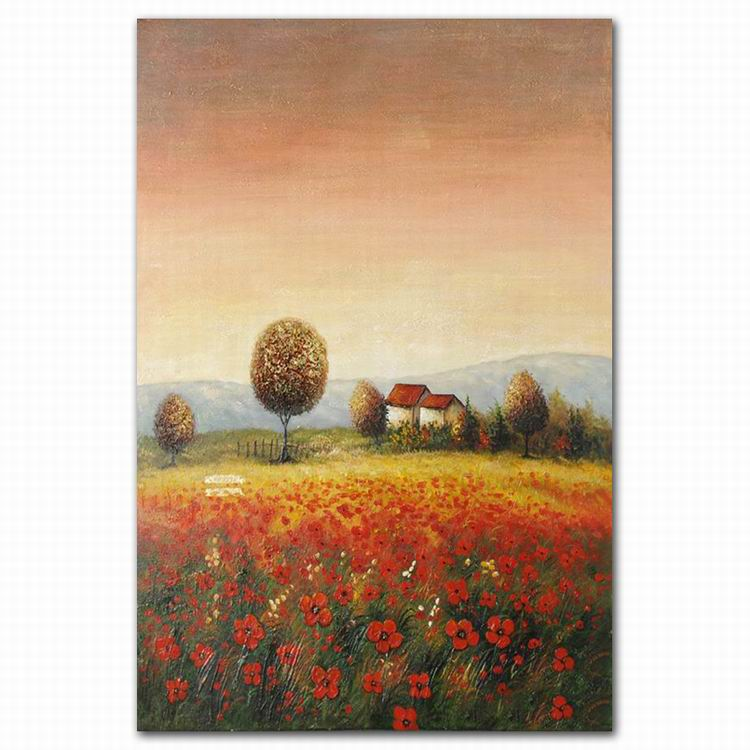 Hand Painted Wall Art Village Field Red Flower Scenery Oil Painting ...