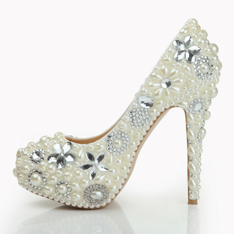 8fb4d343b25 Get Quotations · 2015 Pearl Shoes Bridal Wedding Party Shoes Nightclub  Stiletto Heel Rhinestone Pearls High Heel Shoes Bridal