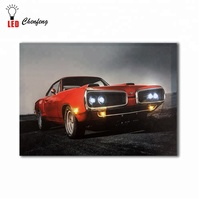 Classic Retro Village Dodge red Car picture wall art decor painting wholesale led light canvas printing decorative living room