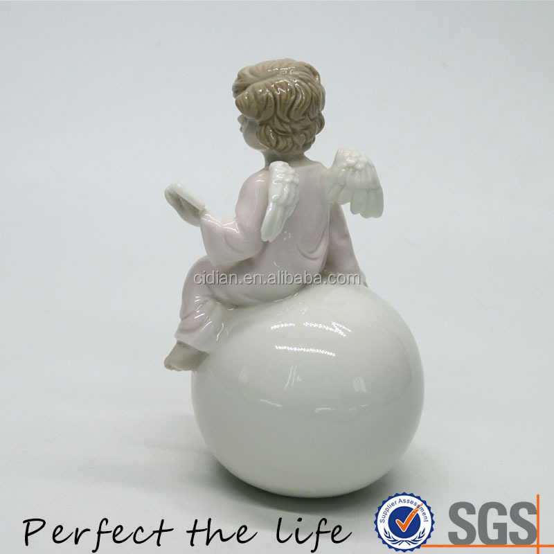 Ceramic porcelain boy angel wing statue