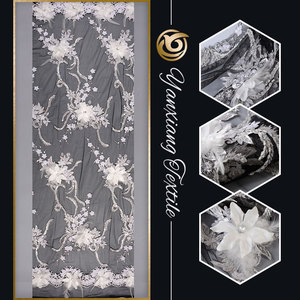 Made in China fashion show feather 3d flower fabric lace