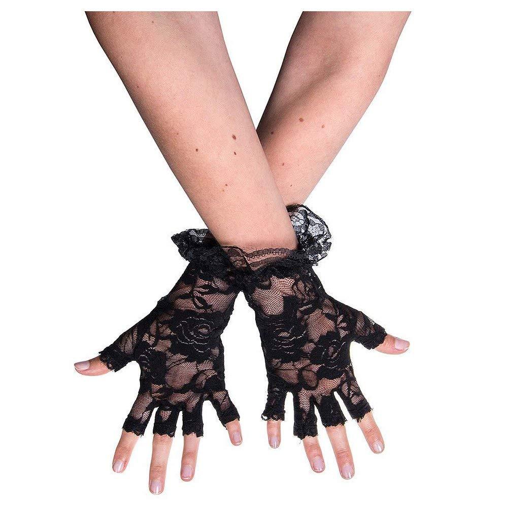SODIAL(R) Black Halloween Fingerless Lace Gloves