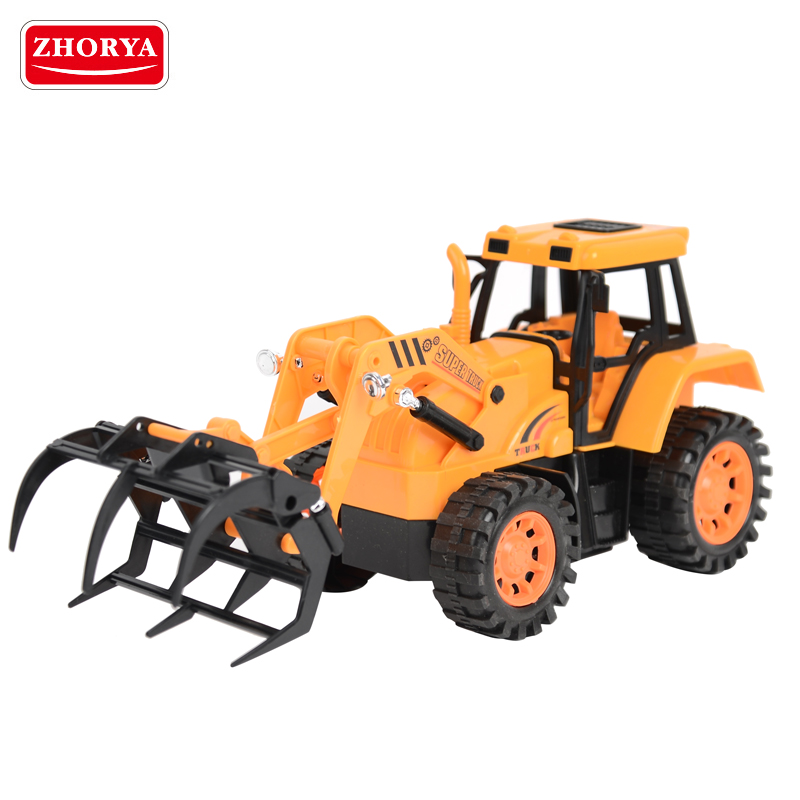 Zhorya 2.4G 5CH plastic yellow rc toy tractor truck with remote control operated claw