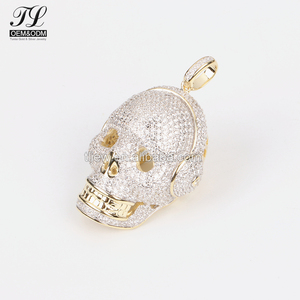K gold silver optional micro pavemen cz skull charm india+arab gold jewelry pendant