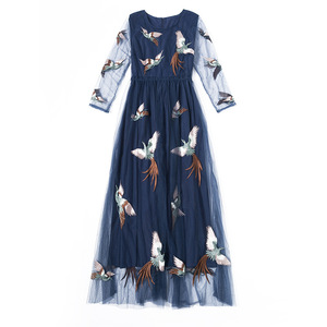 European station 2018 spring and summer new style European American embroidery body repair dress female primer skirt dress