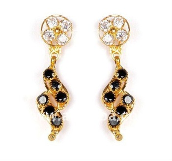 Black Stone Gold Earrings