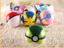 Pokeball Toy 7cm ABS Plastic Red and White Pokeball with little pokemon figures inside