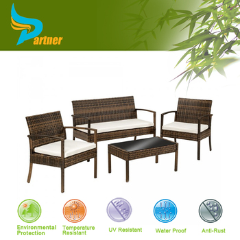 Colorful Victory Garden Bar Set PE Transparent Wicker Rattan Outdoor  Furniture