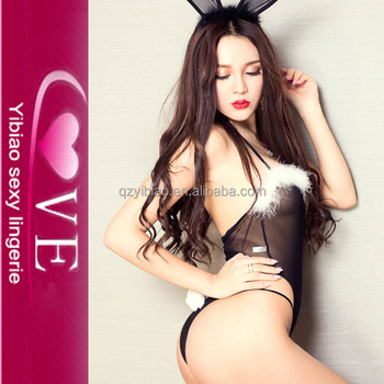 56739dee6 Lace Costume Sexy Bunny Teddy Babydoll Lingerie With Ears Wear ...