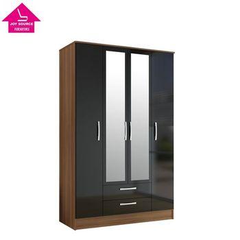 Simple Laminate Wooden Design Bedroom Wardrobe 4 Door With Mirror   Simple  Bedroom Wardrobe Design