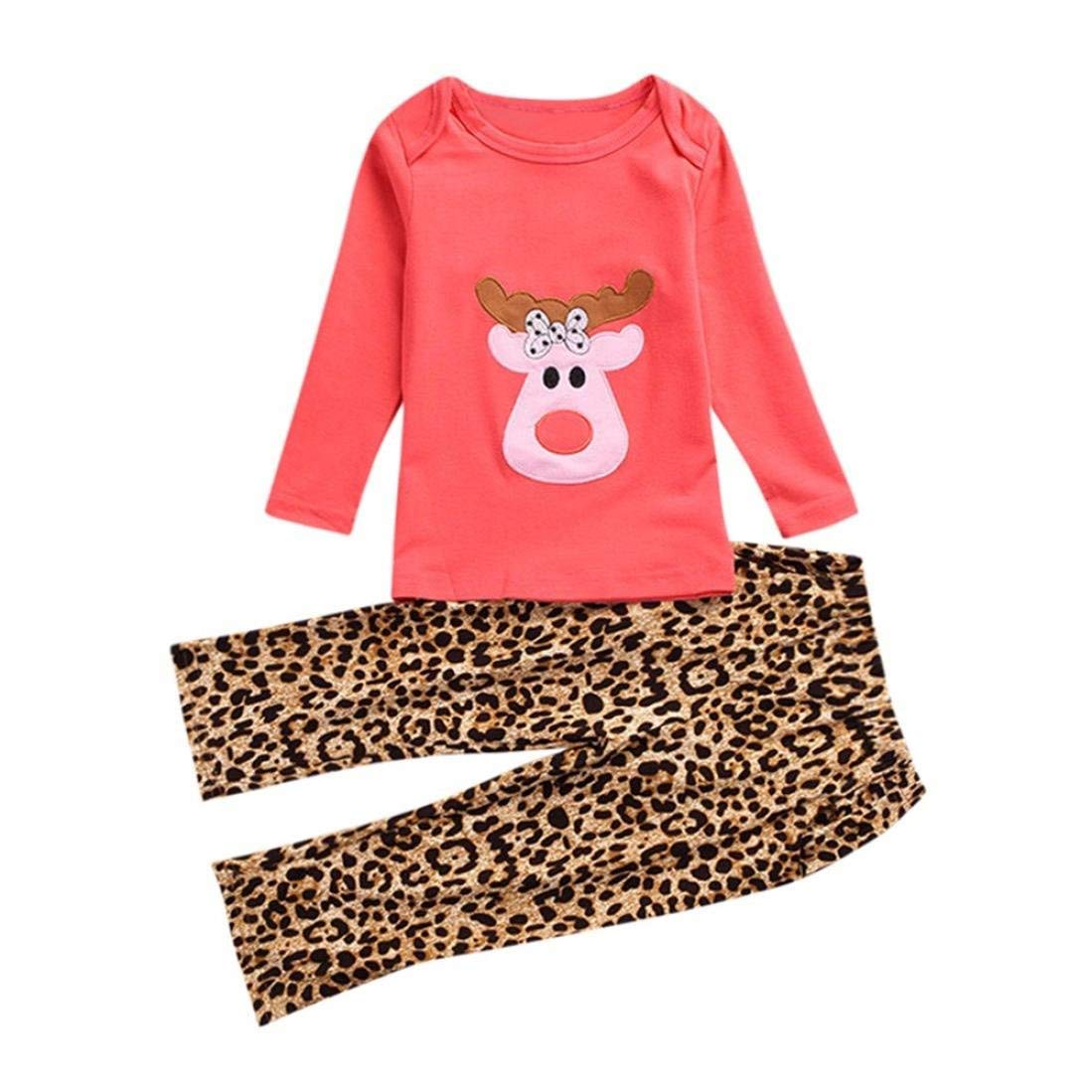 7ee9e59193 Get Quotations · Dreammimi Kids Clothes Girls Clothes Long Sleeve Deer T- Shirt Leopard Pants Childrens Clothes