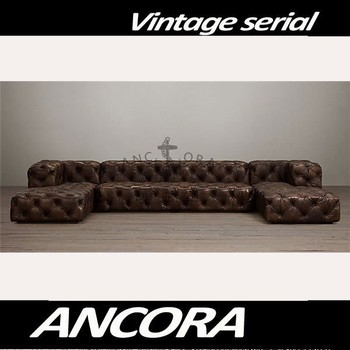 Antique Leather Chaise Lounge/ Tufted Leather Sofa Set A129