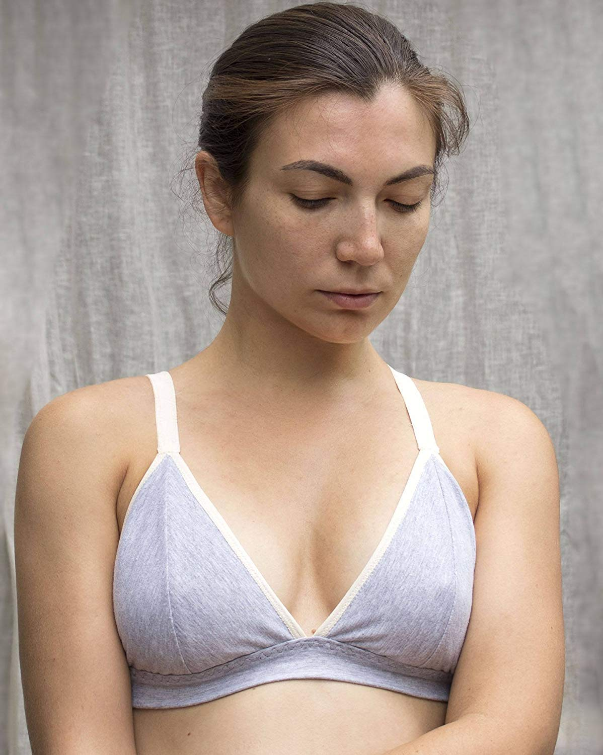 1dce6706c302f7 Get Quotations · Organic Cotton Gray Bralette. Soft Wireless Bra.  Comfortable Supportive Bralette. Convertible Straps.