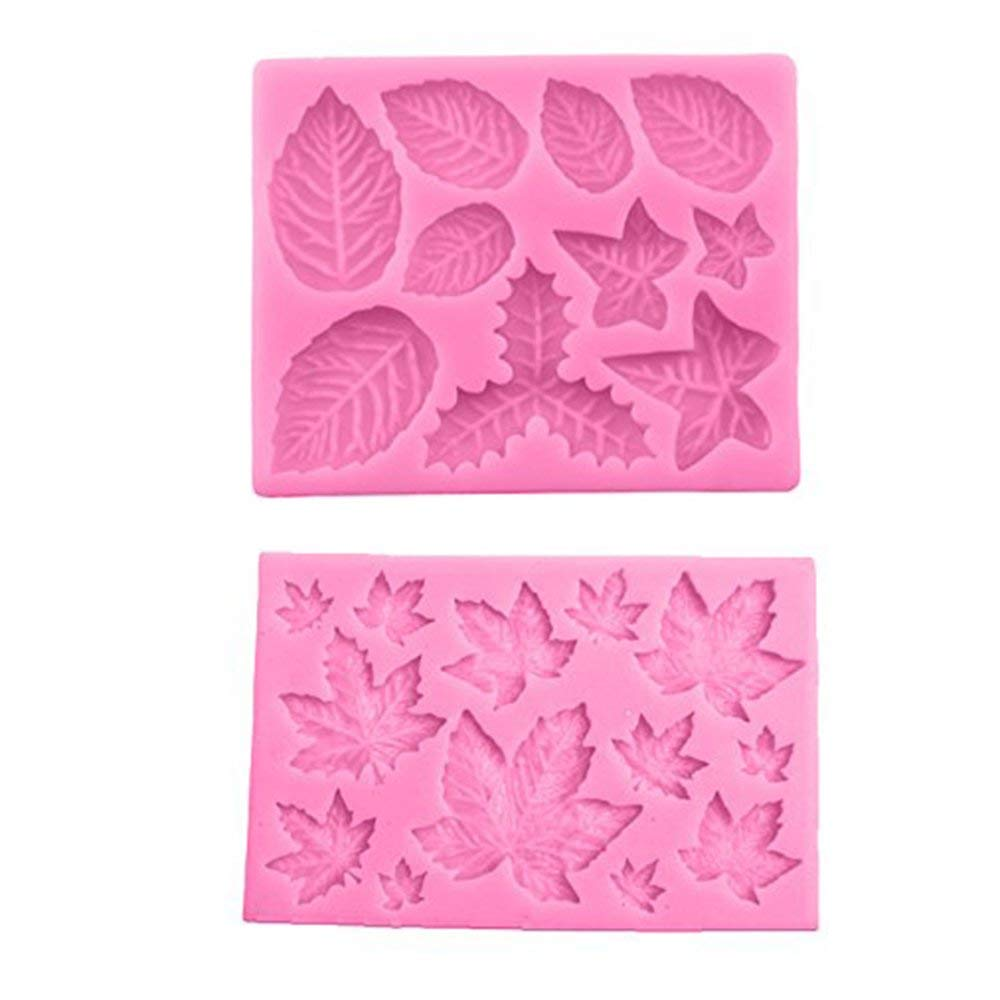 2pcs Maple Leaf Silicone Fondant Molds, 3D DIY Cake Embossed Moulds, Sweet Cake Border Making Mold Candy Chocolate Clay Mold Fondant Cake Sugarcraft Border Decorating Supplies Cake Baking Tool Random