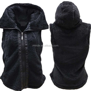 Women Fur Vest Full Zip Up High Mock Neckline Hidden Hood Sherpa Fleece Vest