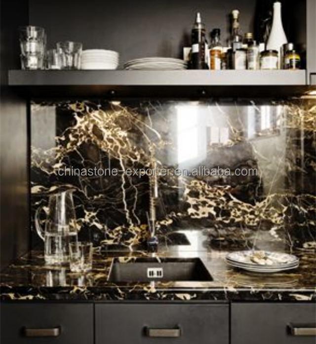 Marbre Noir Avec Veines Dorées, Marbre Pour Cuisine, Italie Portoro Argent  Dragon Noir Marbre