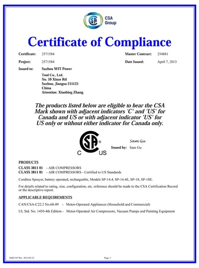 CSA Certification of 14.4V Li-ion Battery Sprayer