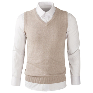Wool Basic Plain Knitted Pullover Men's Casual Slim Fit Solid Lightweight V-Neck Sweaters Vest