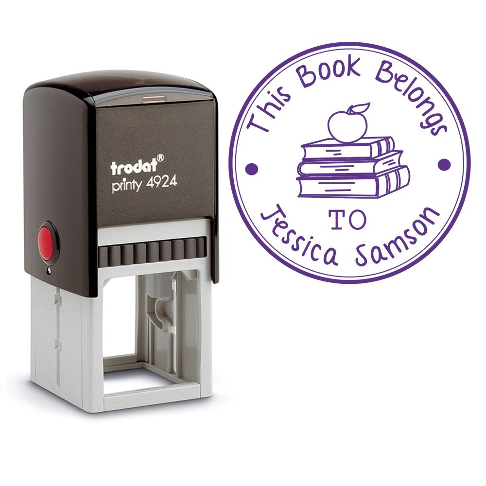 Purple Ink, Stamp Self Inking Personalized Teacher Apple on Books Library Book Stamper Custom This Book Belongs To Large Round 3 Lines Customized Personal Teacher Appreciation Stamp