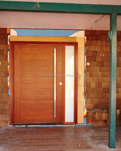 Contemporary Style Wooden Front Door Design, Pivot Door with Glass Sidelights
