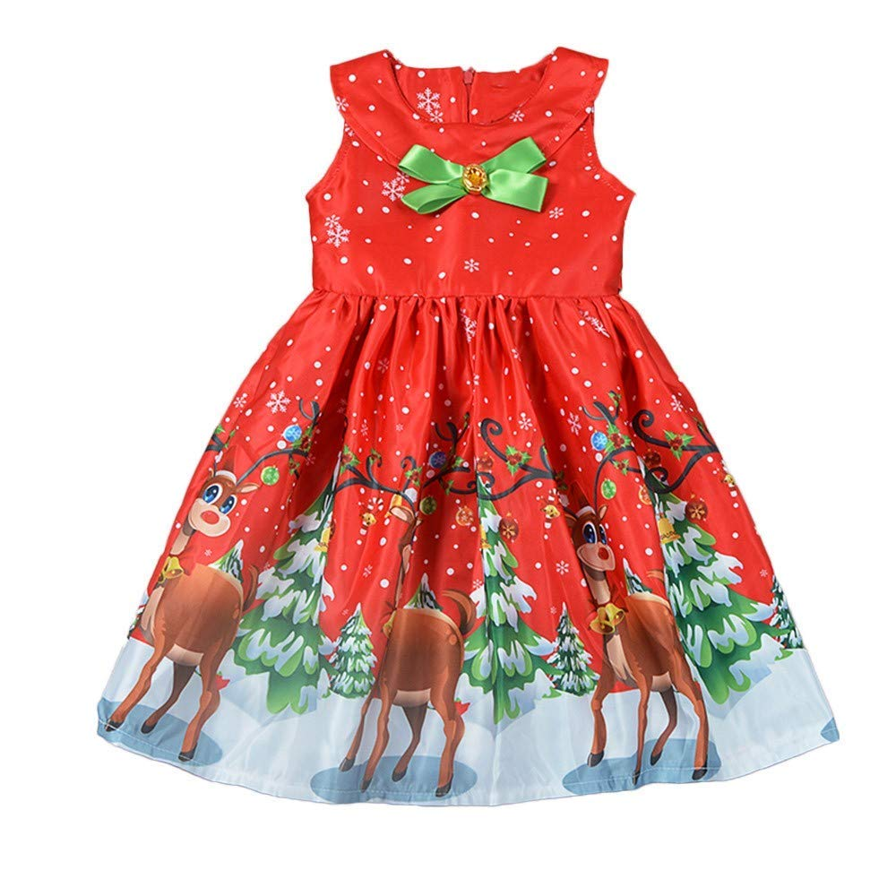 Baby Girl Dress,Toddler Sleeveless Bow Santa Deer Print Princess Dress Childern Outfits Clothes (Red, Recommended Age:18Months/Label Size:90)