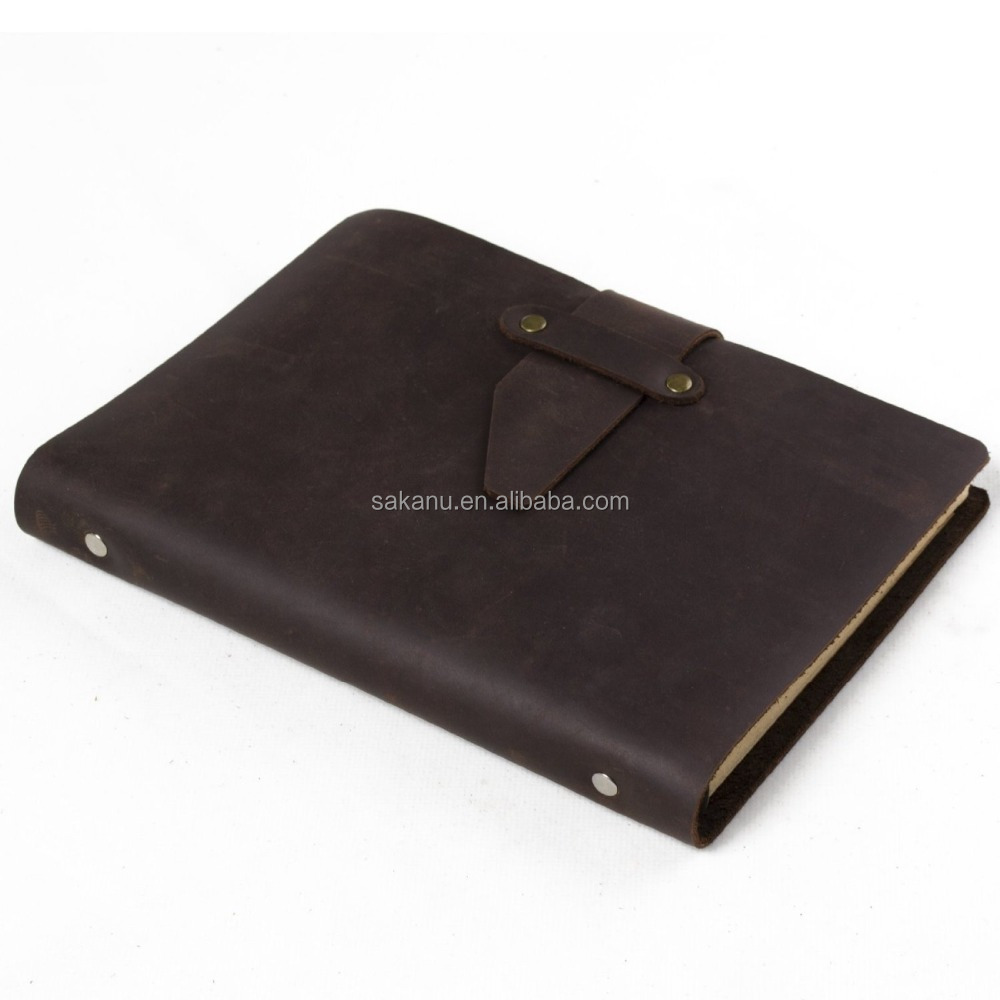 genuine leather A5 notebook cow leather ring binder diary notepad custom