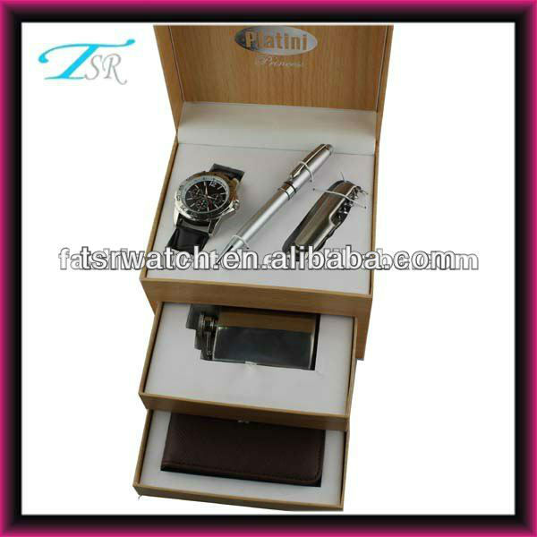 New watch gift set men set watch+pen+knife+wallet+belt,best gift watch set for men
