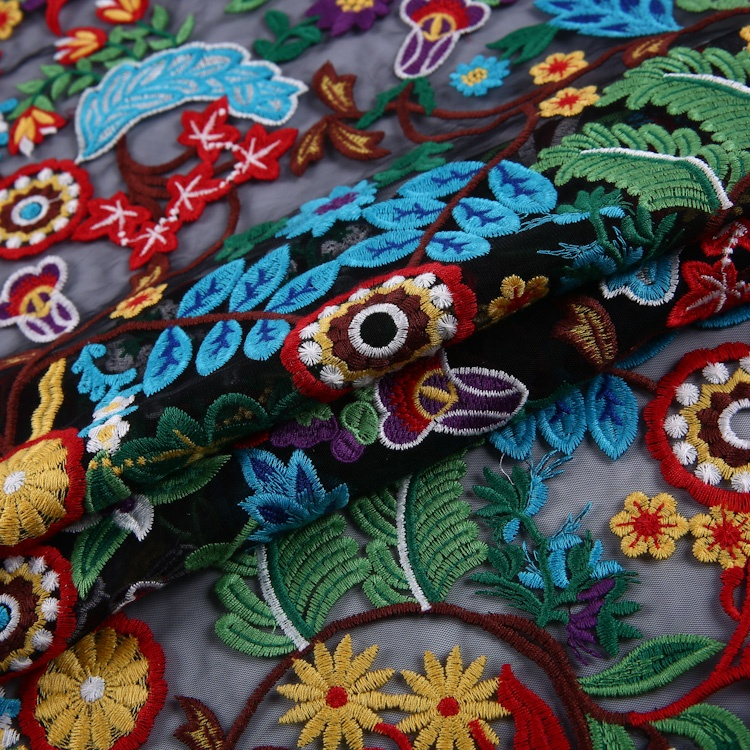 New fashion multi color flower design embroidery tulle fabric material for dress