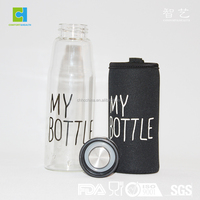 500ml High Borosilicate Glass Water Bottle With Silicone Cover Sprots Glass Drinking Bottle