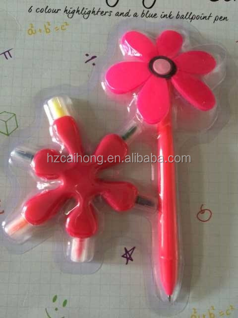Highlighter And Pen set,6 in 1 Highlighter,Flower Pen CH-6398 Promotional pen set