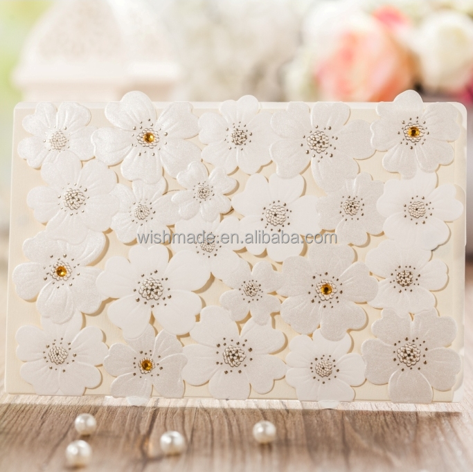 pearl light wedding invitation Card with laser cut and crystal CW5136