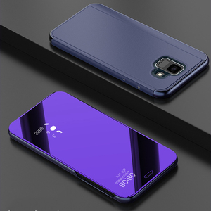Luxury Plating Smart Flip Cover Mirror Phone Case For Samsung Galaxy J6 2018