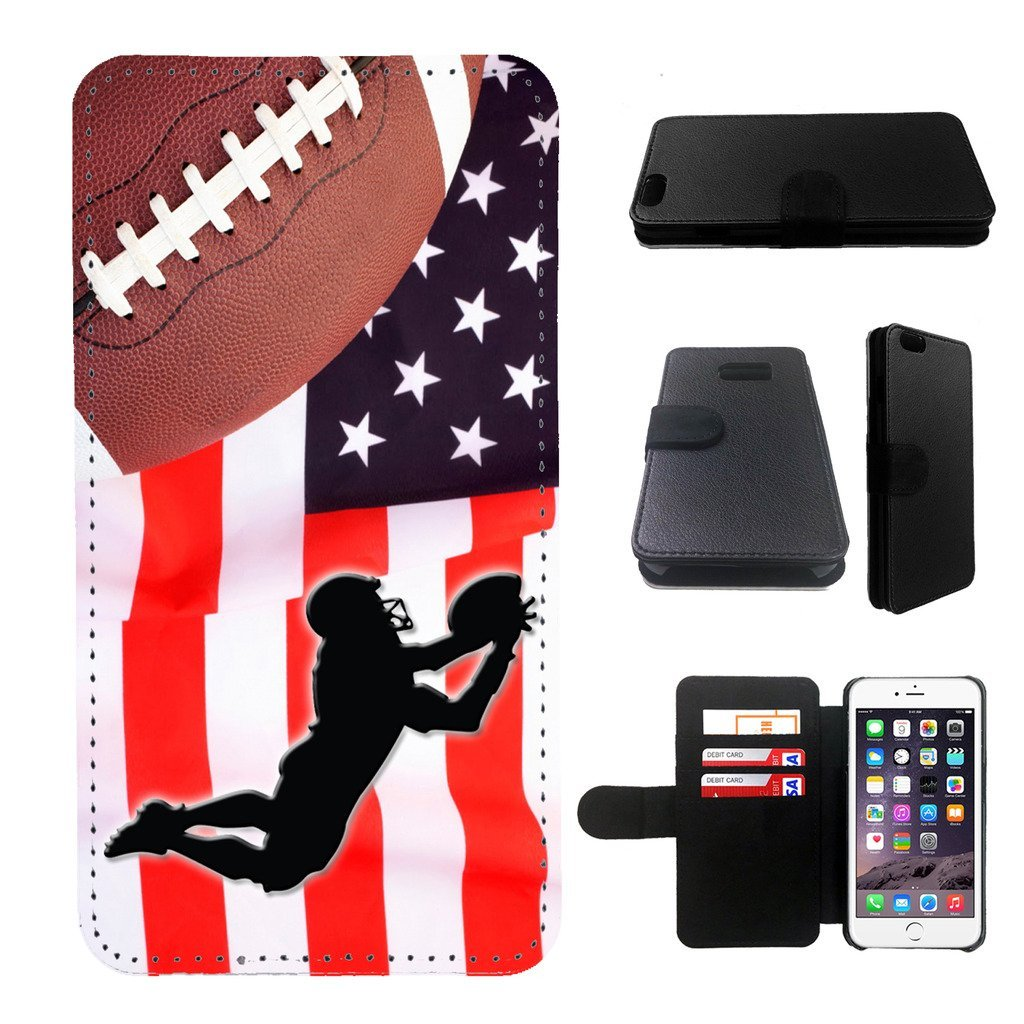 Football, NFL Iphone 6s PLUS wallet leather case, iphone 6s PLUS wallet case, iphone 6s PLUS flip case, black