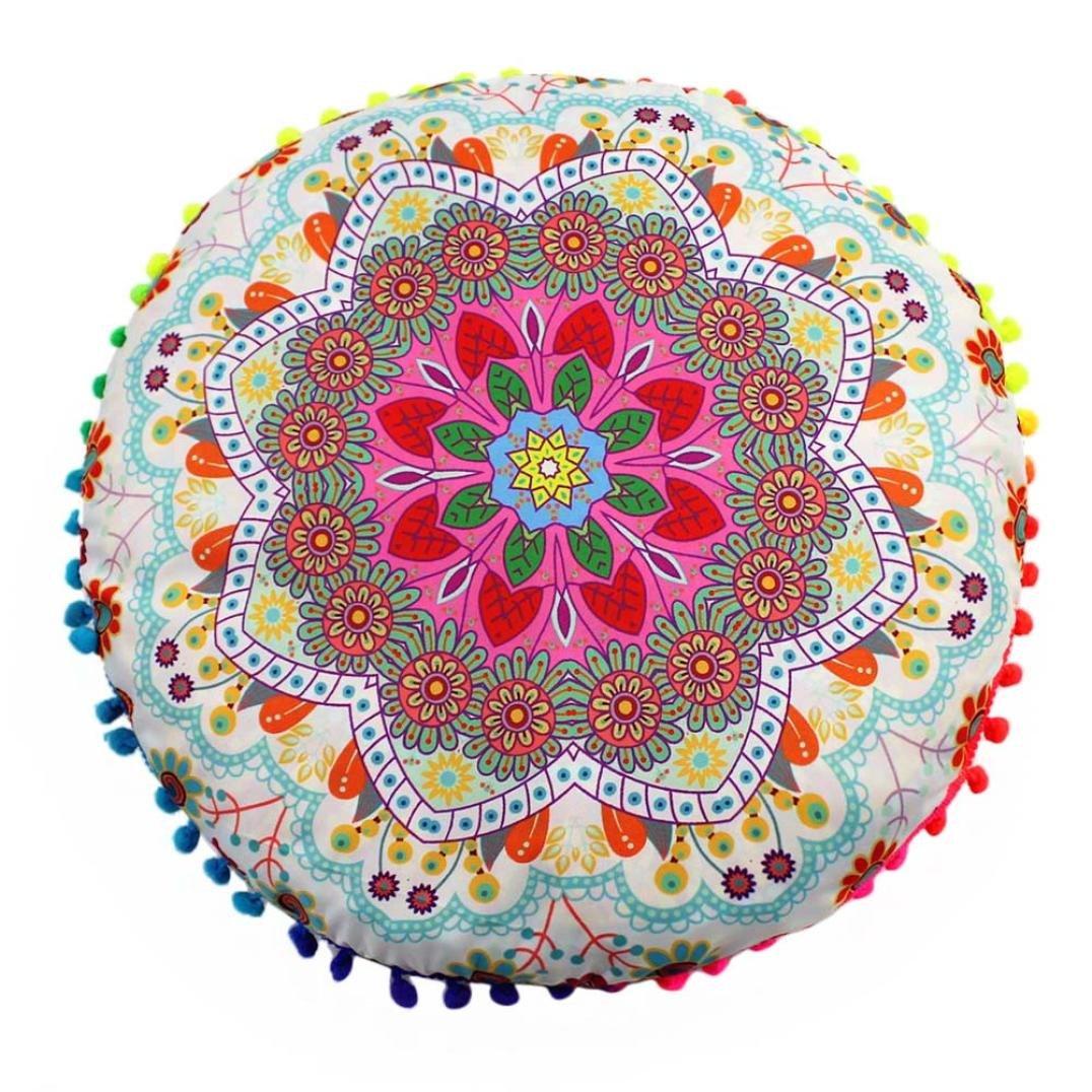 FAPIZI Clearance❀Pillow case❀43x43cm Indian Mandala Floor Pillows Round Bohemian Cushion Pillows Cover Case Cushions (D)