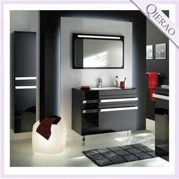 Modern Black High Gloss Pvc Bathroom Vanity Gbp 1217