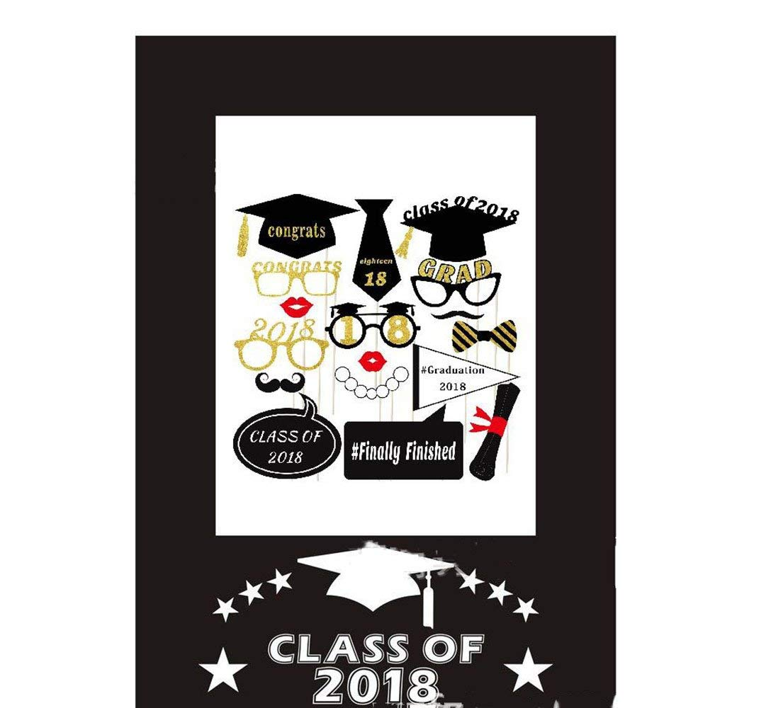 2018 Selfie Photo Props Sticks Mini Portable Graduation Wedding Birthday Party Frame Photo Props Kit Personalized Photography Photo Booth Props Diy Photo Shoot Props for Women Men (Party props3)
