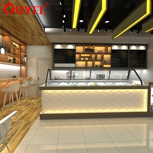 Cafe Store Display Furniture Customized Wooden Coffee Shop Bar Counter Design