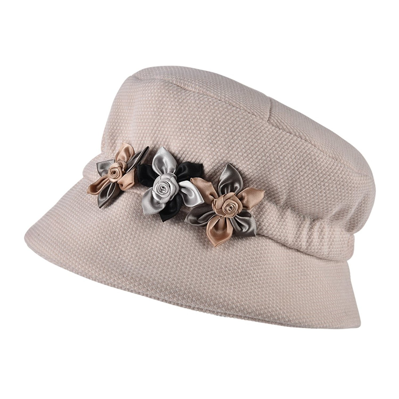 8046e821f7e Get Quotations · VOBOOM Ladies Wool Cloche Hats Bucket Hat Vintage Tweed Hat  Foldable