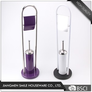 Bathroom Accessories Free Standing Stainless Steel 201 Purple Toilet Brush and Paper holder