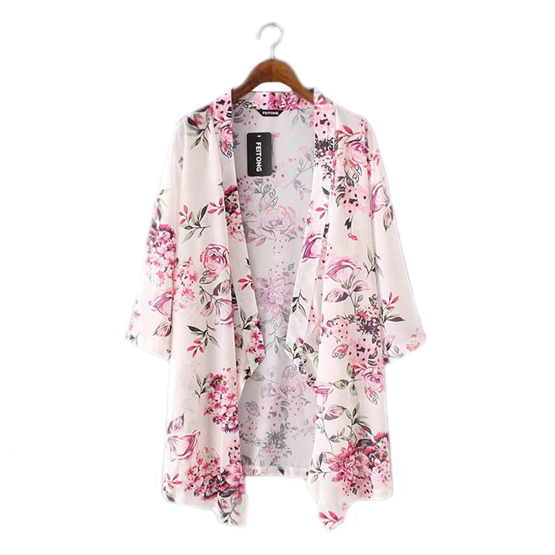 Clearance!Womens Loose Chiffon Semi-Sheer Kimono Blouse Floral Print Cardigan Tops