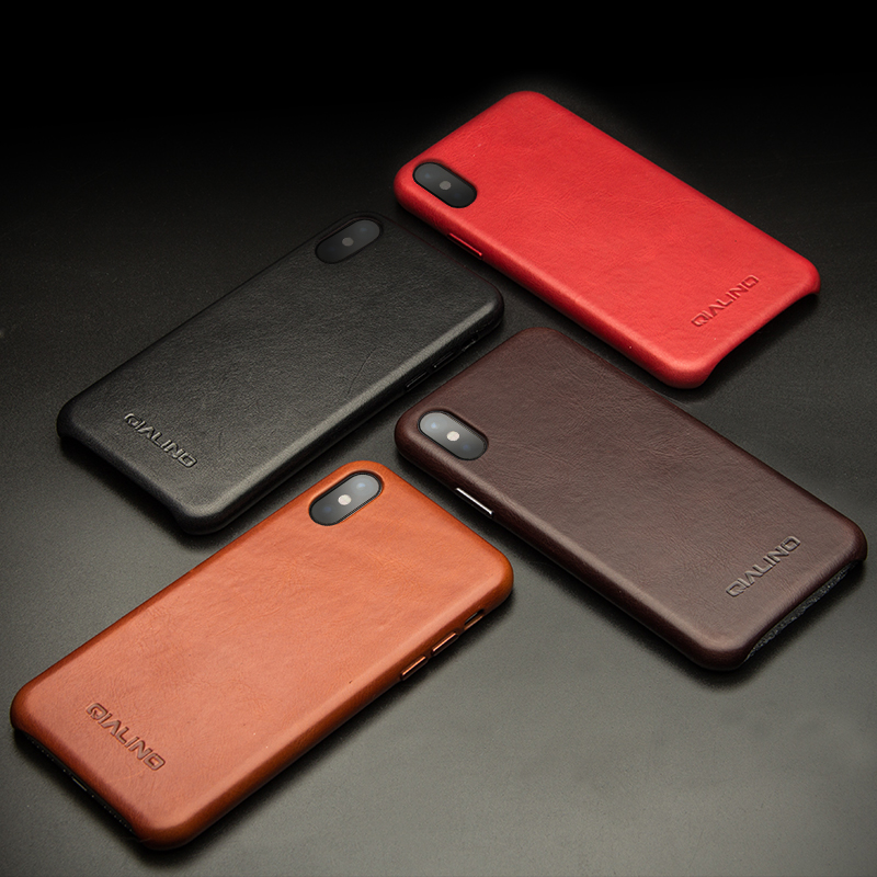 QIALINO Luxury Genuine Leather Phone <strong>Case</strong> For iPhone X