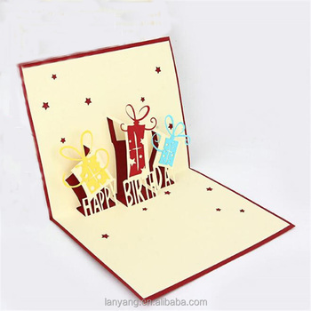 3D Card Pop Up Gift Happy Birthday Baby Kids Party Greeting Cards