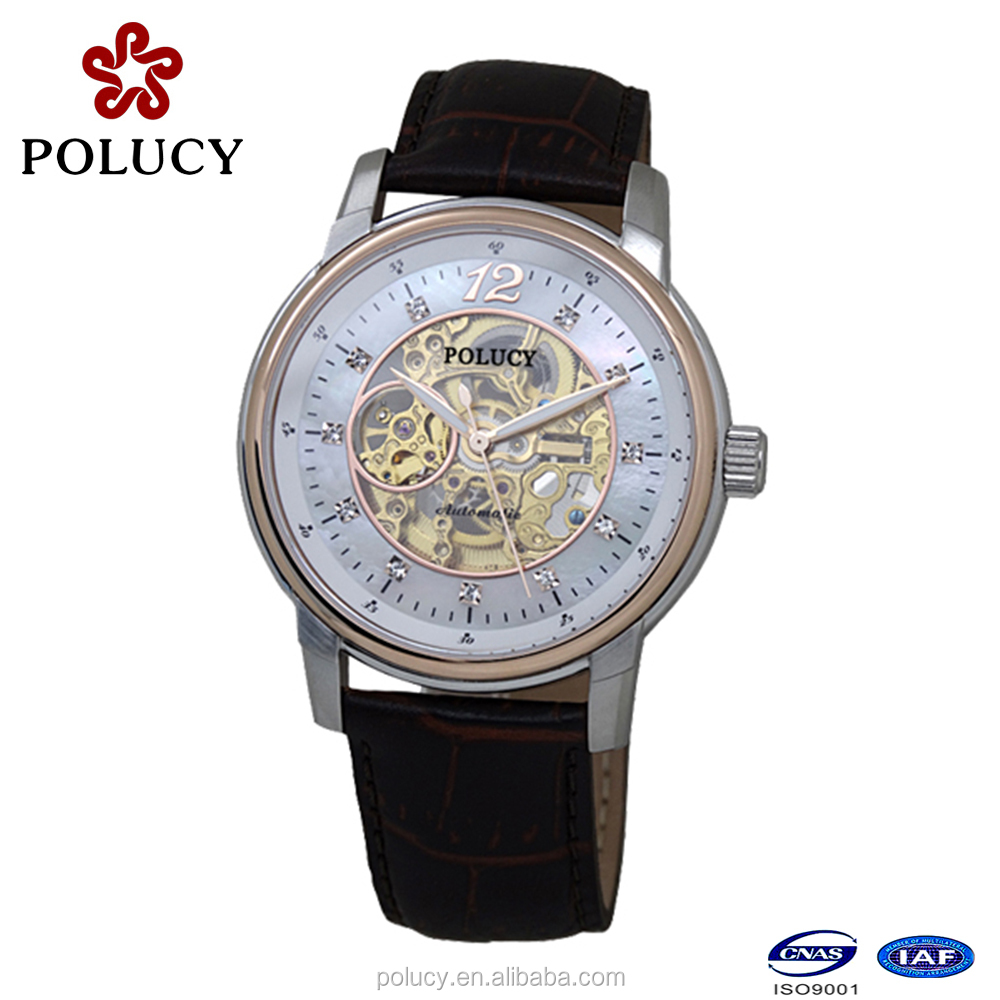 Automatic skeleton mechanical leather bracelet watch